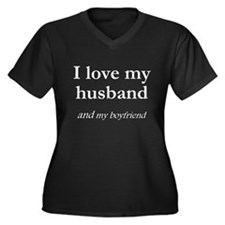 Husband/my boyfriend Women's Plus Size V-Neck Dark