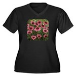 Echinacea Magnus Women's Plus Size V-Neck Dark T-S