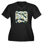 Shasta Daisies Women's Plus Size V-Neck Dark T-Shi