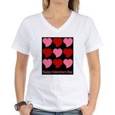 Valentine Hearts on Black Shirt