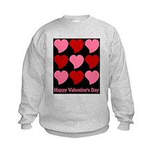 Valentine Hearts on Black Sweatshirt