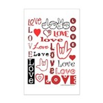 Love Words and Hearts Mini Poster Print