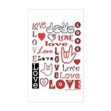 Love Words and Hearts Rectangle Decal