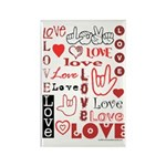 Love Words and Hearts Rectangle Magnet