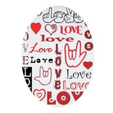 Love Words and Hearts Oval Ornament