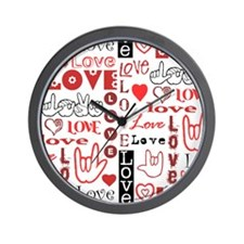 Love Words and Hearts Wall Clock