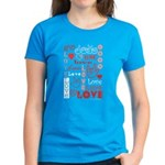 Love Words and Hearts Women's Dark T-Shirt