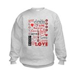 Love Words and Hearts Kids Sweatshirt
