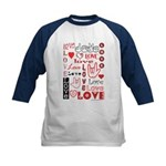 Love Words and Hearts Kids Baseball Jersey
