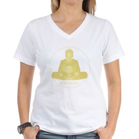 Yoga Buddha 2 Women's V-Neck T-Shirt