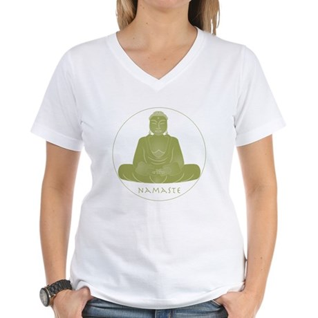 Yoga Buddha 3 Women's V-Neck T-Shirt