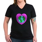 Love Our Planet Women's V-Neck Dark T-Shirt