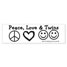 Peace, Love & Twins Bumper Car Sticker