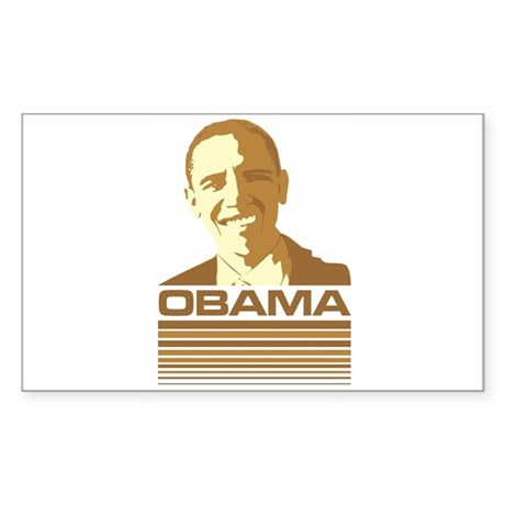 Barack Obama (Retro Brown) Rectangle Sticker