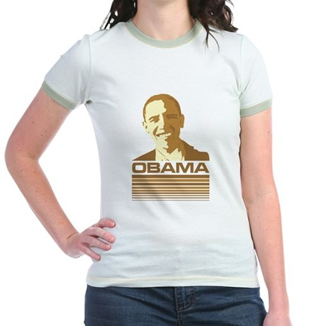 Barack Obama (Retro Brown) Jr. Ringer T-Shirt