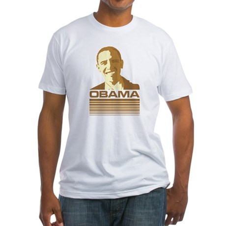 Barack Obama (Retro Brown) Fitted T-Shirt
