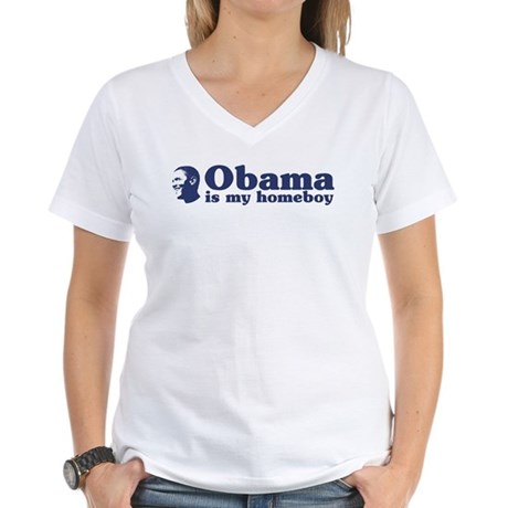 Obama is my homeboy Women's V-Neck T-Shirt