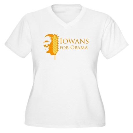 Iowans for Obama  Women's Plus Size V-Neck T-Shirt