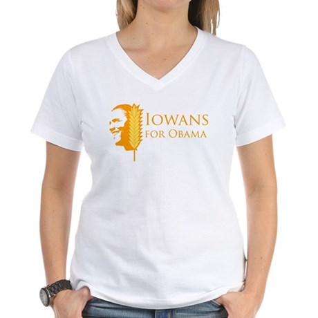 Iowans for Obama  Women's V-Neck T-Shirt