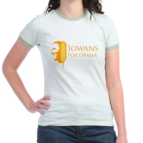 Iowans for Obama  Jr Ringer T-Shirt
