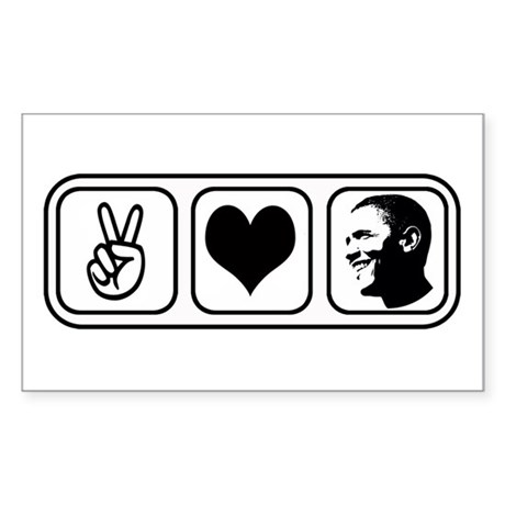 Peace Love Obama Rectangle Sticker