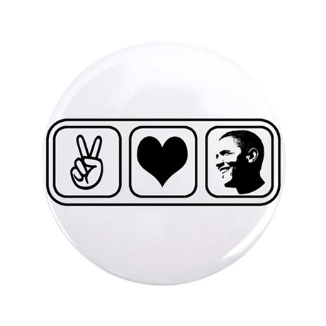 "Peace Love Obama 3.5"" Button"