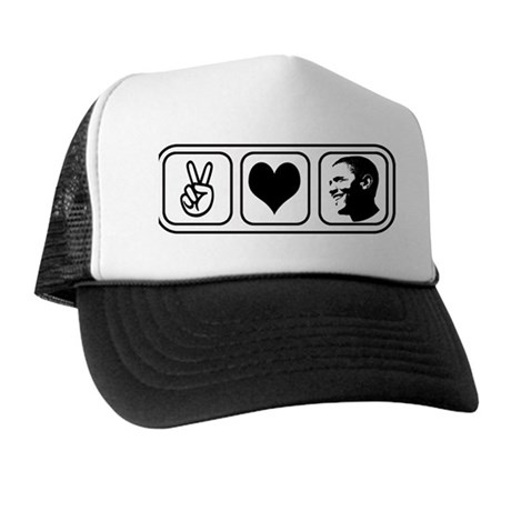 Peace Love Obama Trucker Hat