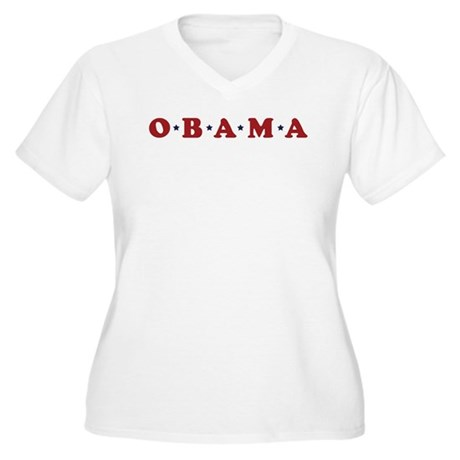 Obama (simple stars) Women's Plus Size V-Neck T-Sh