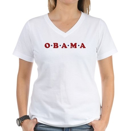 Obama (simple stars) Women's V-Neck T-Shirt