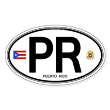 Puerto Rico Euro Oval Oval Stickers