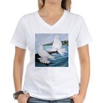 White Trumpeter Pigeons Women's V-Neck T-Shirt