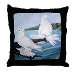 White Trumpeter Pigeons Throw Pillow