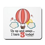 Third 3rd Birthday Hot Air Balloon Mousepad