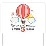 Third 3rd Birthday Hot Air Balloon Yard Sign