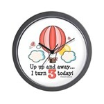 Third 3rd Birthday Hot Air Balloon Wall Clock
