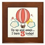 Third 3rd Birthday Hot Air Balloon Framed Tile