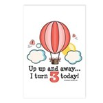 Third 3rd Birthday Hot Air Balloon Postcards (Pack