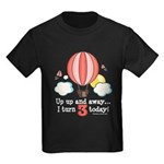 Third 3rd Birthday Hot Air Balloon Kids Dark T-Shi