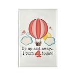 Fourth 4th Birthday Hot Air Balloon Rectangle Magn
