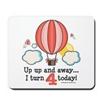 Fourth 4th Birthday Hot Air Balloon Mousepad