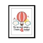 Fourth 4th Birthday Hot Air Balloon Framed Panel P