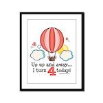 Fourth 4th Birthday Hot Air Balloon Framed Panel P