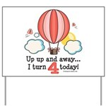 Fourth 4th Birthday Hot Air Balloon Yard Sign