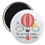 Fourth 4th Birthday Hot Air Balloon Magnet