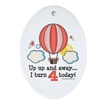 Fourth 4th Birthday Hot Air Balloon Ornament (Oval