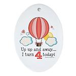 Fourth 4th Birthday Hot Air Balloon Ornament (Oval