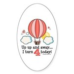 Fourth 4th Birthday Hot Air Balloon Oval Sticker