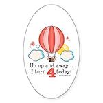 Fourth 4th Birthday Hot Air Balloon Oval Sticker
