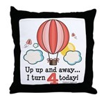 Fourth 4th Birthday Hot Air Balloon Throw Pillow