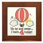 Fourth 4th Birthday Hot Air Balloon Framed Tile